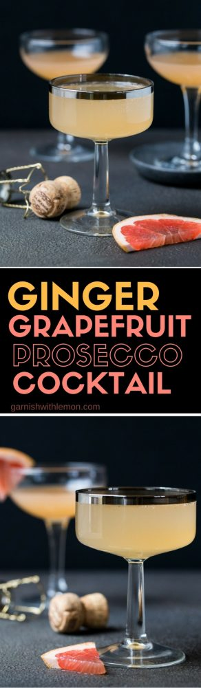 This Ginger Grapefruit Prosecco Cocktail mixes bubbly prosecco with spicy ginger liqueur and tangy grapefruit juice - a perfect brunch or holiday party cocktail!
