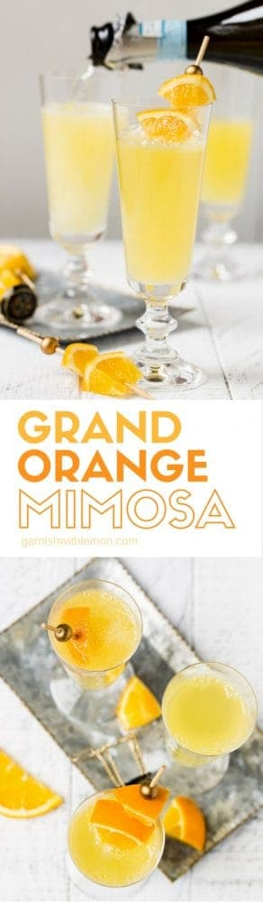 collage images of Grand Orange Mimosa recipe on white background with fresh orange slices for garnish