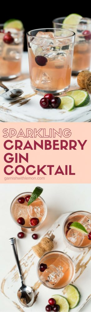 Add a little fun and festivity to your happy hour with this five-ingredient Sparkling Cranberry Gin Cocktail.