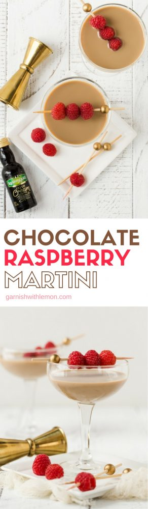 Collage image of chocolate raspberry martinis in coupe glasses on white background with fresh raspberries for garnish.