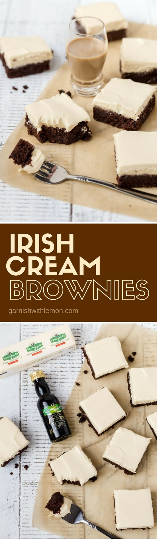 Collage image of Irish Cream Brownies