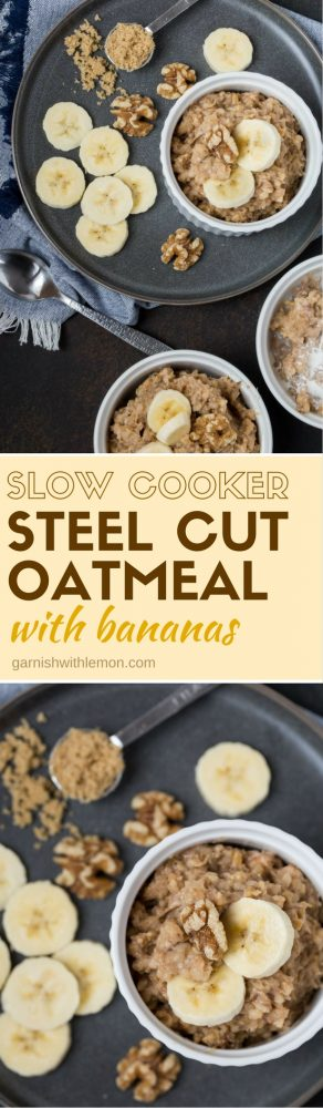A bunch of oatmeal in bowls, with banana and Slow cooker.