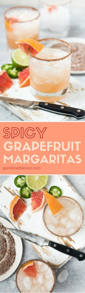 A pitcher of these Spicy Grapefruit Margaritas is a perfect batch cocktail for game day or happy hour!