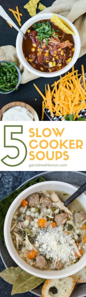 Two pictures of Slow Cooker Soup Recipes to feed a crowd.
