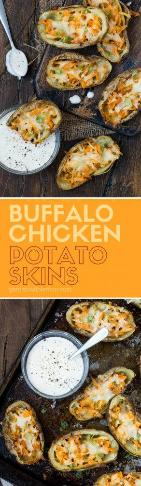 Collage image of Buffalo Chicken Potato Skins.