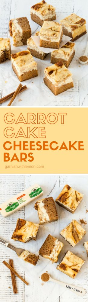 Collage image of cut Carrot Cake Cheesecake Bars on a white background with cinnamon sticks and ground cinnamon for garnish.