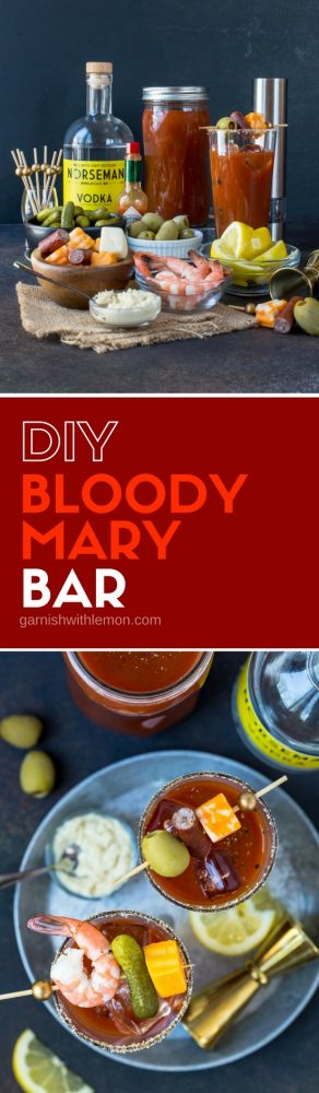 Collage images of Bloody Mary Bar with fresh horseradish, olives and pickles for garnishes.