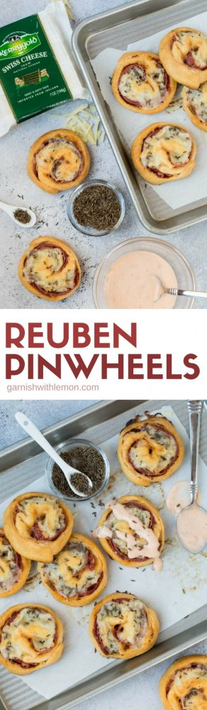 Collage picture of Baked Reuben Pinwheels with caraway seeds and Thousand Island dressing.