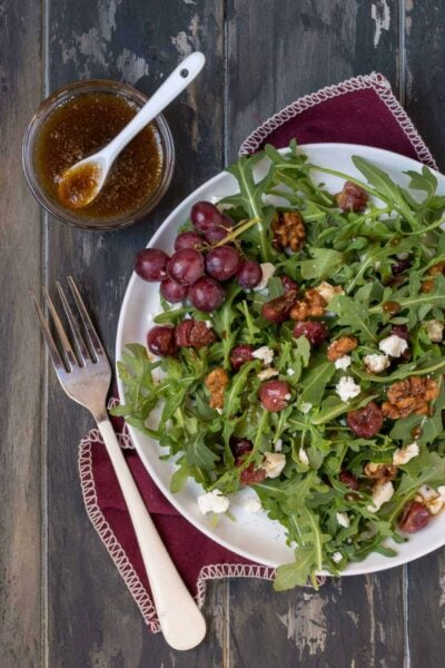 Arugula Salad with Roasted Grapes and Feta Cheese