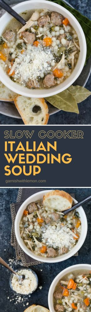 Collage picture of Slow Cooker Italian Wedding Soup