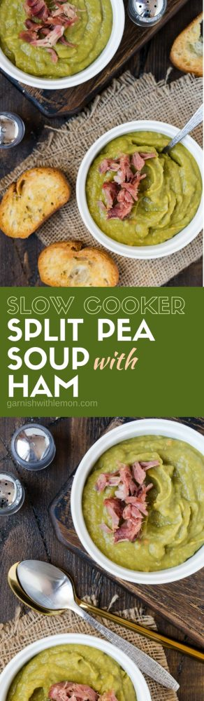 Collage picture of Slow Cooker Split Pea Soup with Ham