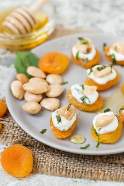 Stuffed Apricots with Goat Cheese, Basil and Marcona Almonds