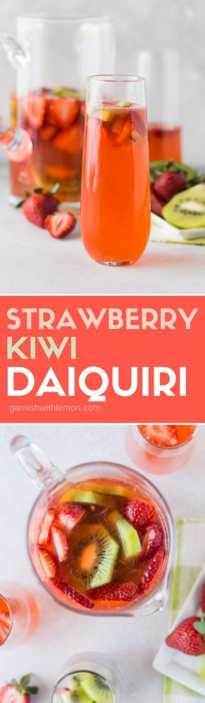 collage image of strawberry-kiwi daiquiris. A top down shot of the large serving pitcher and a side shot of a glass filled with the daiquiri and garnished with fresh fruit.