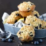 Silver tray filled with Blueberry Lemon Poppy Seed Muffins