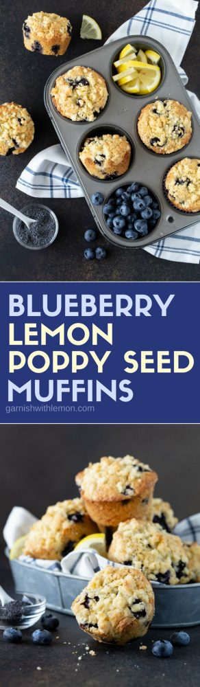 Blueberry Lemon Poppy Seed Muffins in tins and bowls.