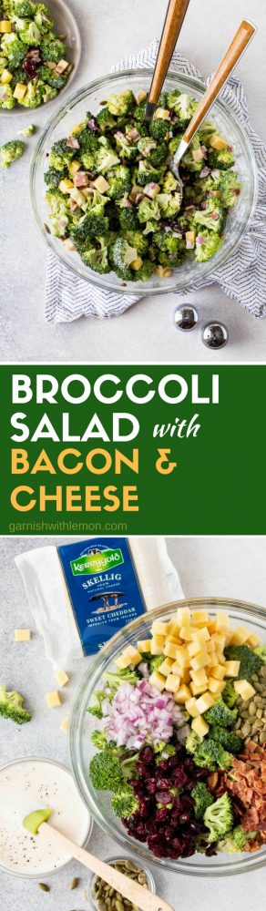 Collage of two images of Easy Broccoli Salad with Bacon and Cheese.