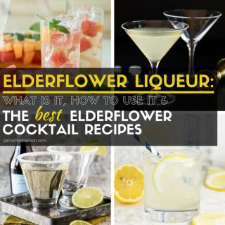 Image of 4 different elderflower cocktails that use elderflower liqueur as an ingredient.