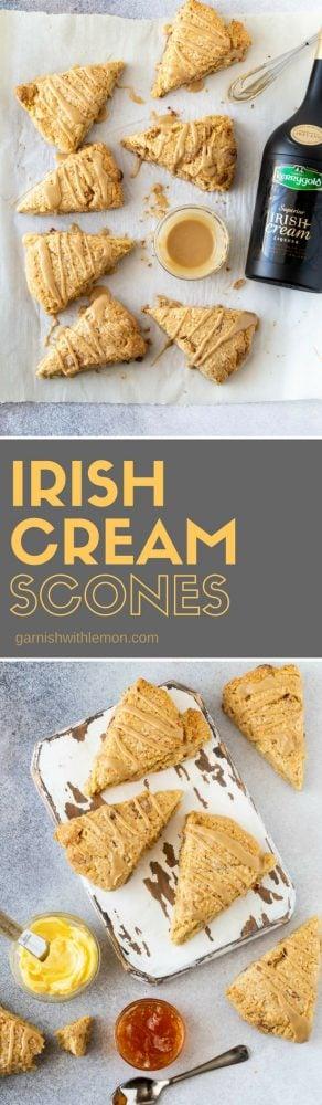 Collage of two images of Irish Cream Scones with Irish Cream Liqueur glaze.