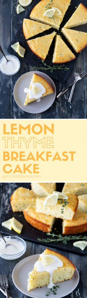 collage picture of two images of Lemon Thyme Breakfast Cake
