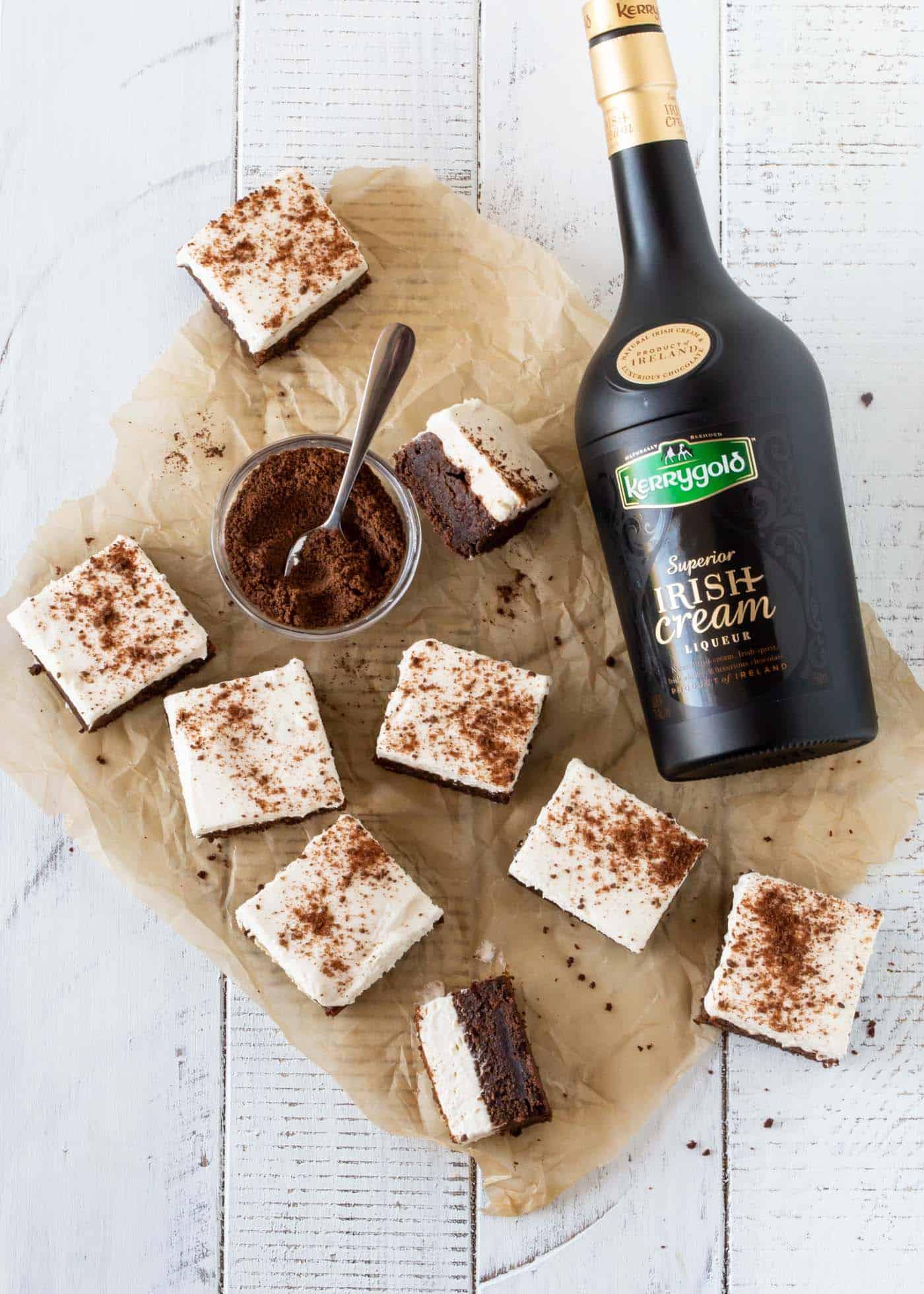 Top down shot of Chocolate Mud Pie Bars recipe with fresh chocolate graham cracker crumbs for garnish.