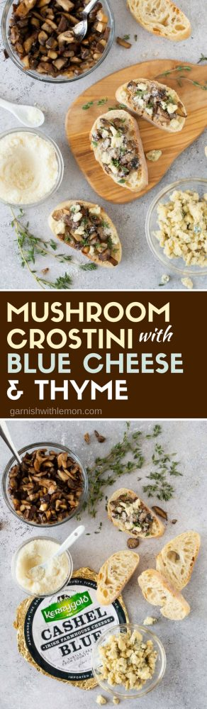Collage images of Mushroom Crostini with Blue Cheese and Thyme recipe with fresh thyme, blue cheese crumbles and grated parmesan for garnish.