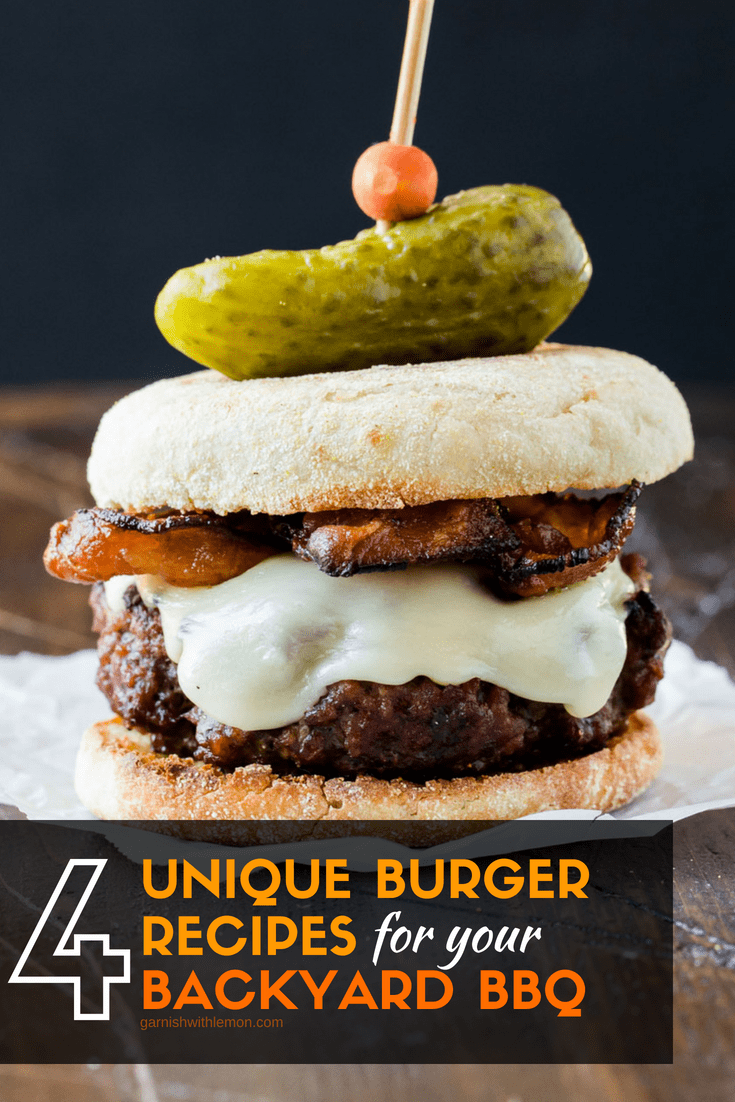 image of a cheeseburger on a piece of parchment paper to highlight 4 unique burger recipes for your backyard bbq