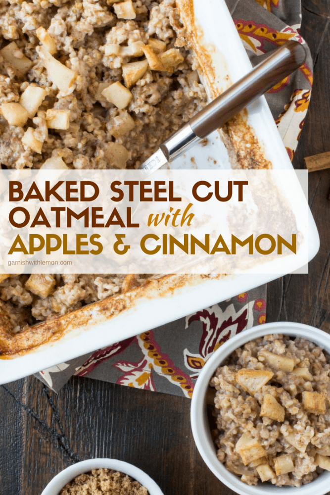 Baked Steel Cut oatmeal with Apples and Cinnamon recipe in white serving dish on a dark background.