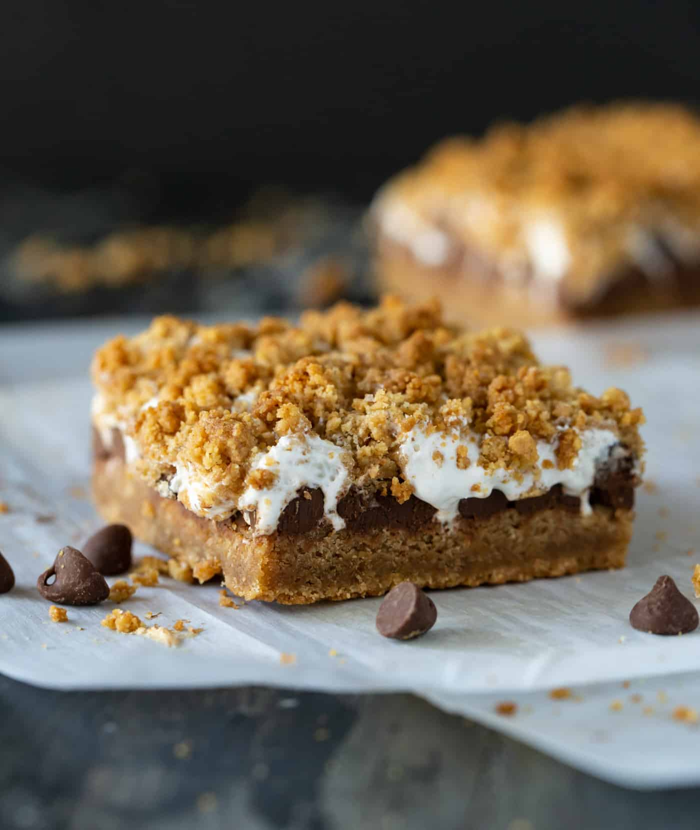 Close up shot of Gooey Baked S'mores Bars recipe