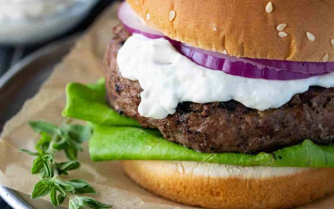 Lamb Burgers with Goat Cheese and Tzatziki