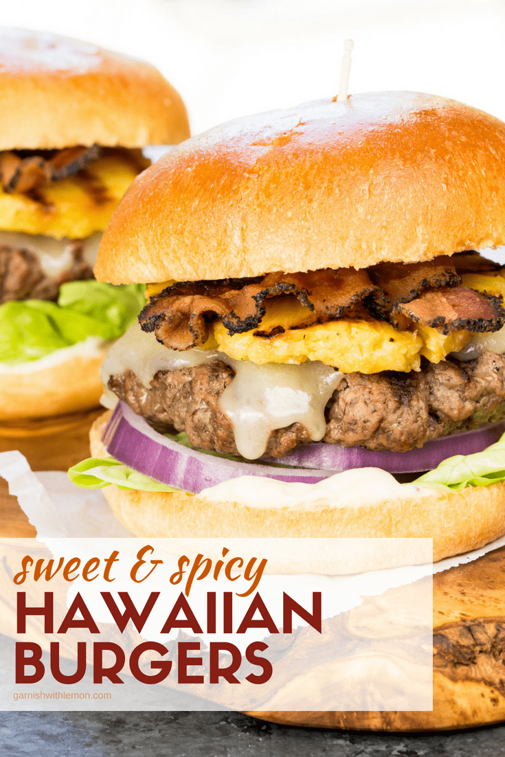Image of two Sweet and Spicy Hawaiian Burgers