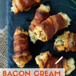 Collage image of bacon cream cheese bites on a dark background