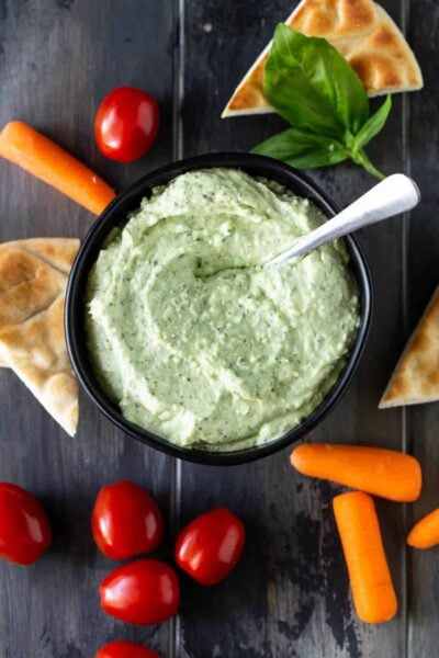 Creamy Goat Cheese Pesto Dip