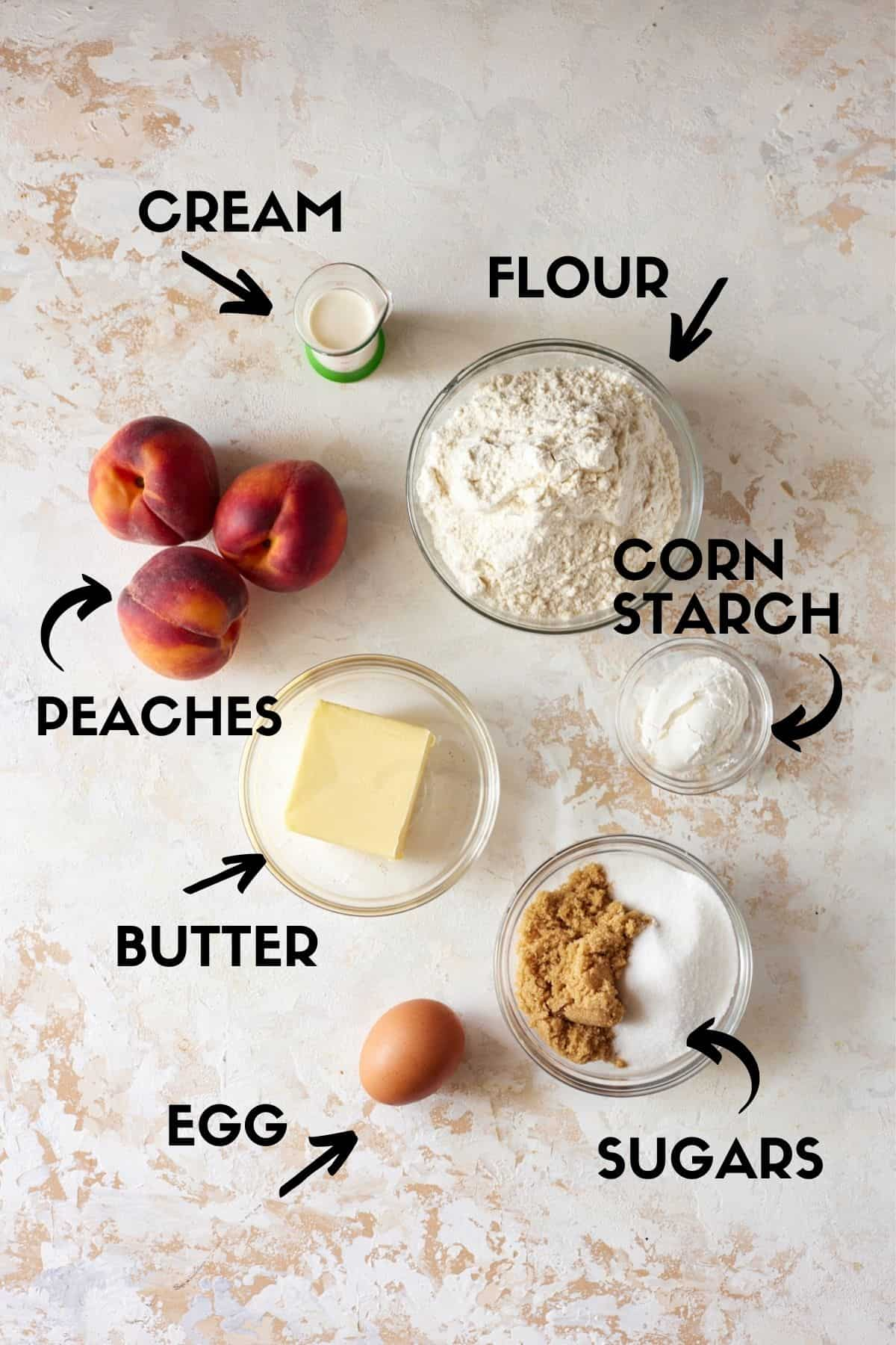 Ingredients for peach crumble.