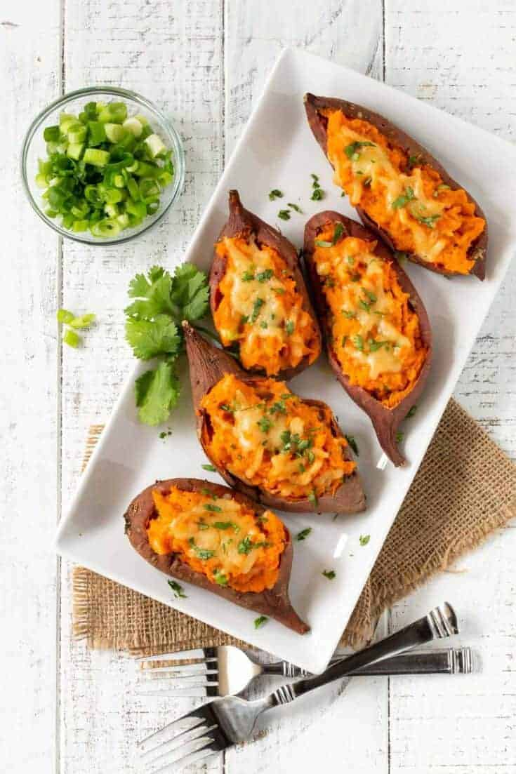 Cheesy Chipotle Twice Baked Sweet Potatoes
