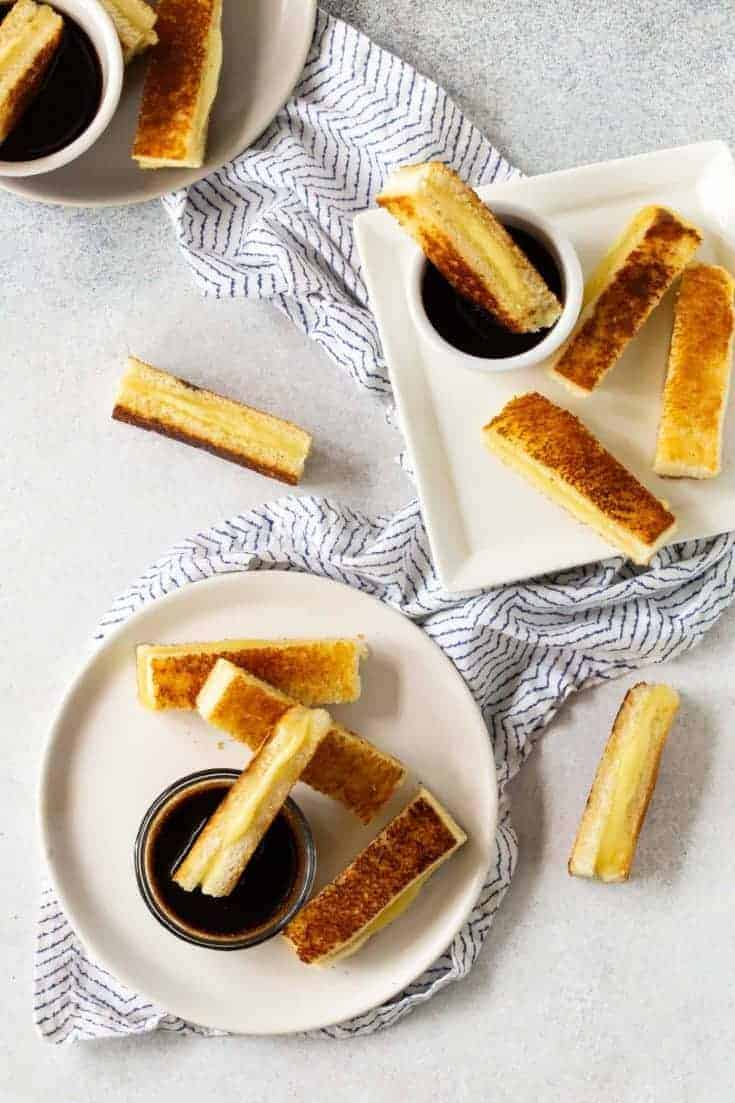Mini Grilled Cheese Appetizers with Balsamic Dipping Sauce