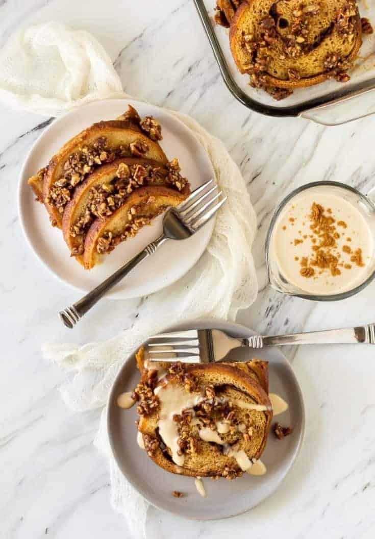 Overnight French Toast Casserole with Irish Cream Sauce