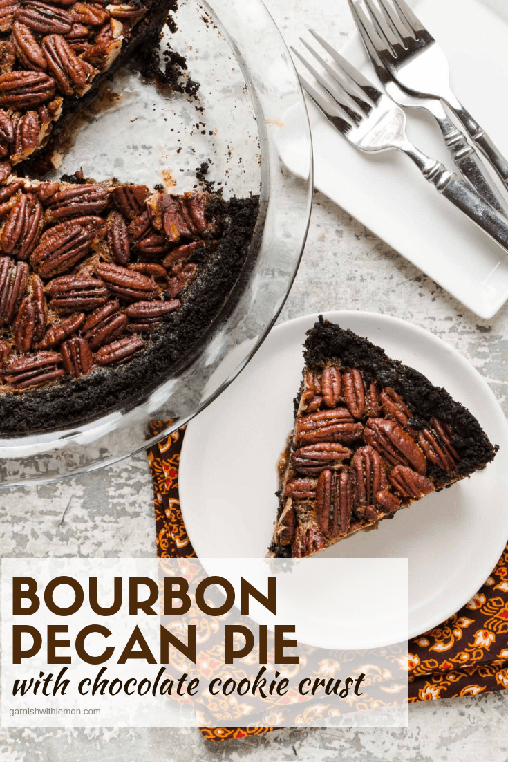 Top down image of Bourbon Pecan Pie with Chocolate cookie crust on a light background.
