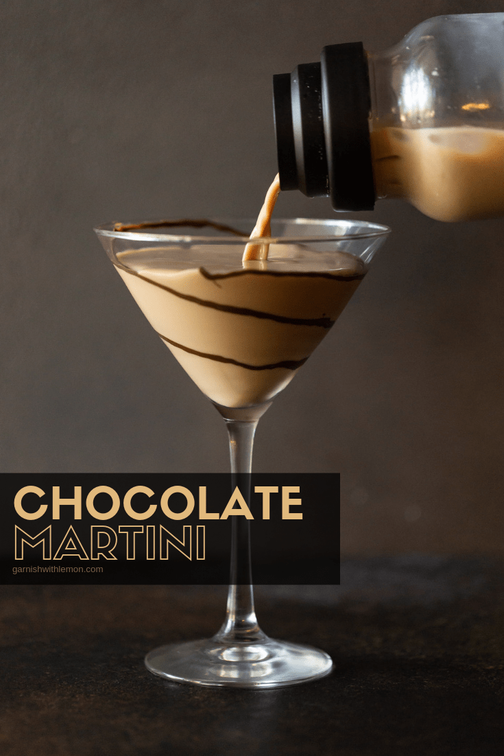 Chocolate Martini recipe being poured into a tall martini glass with chocolate swirls for garnish.