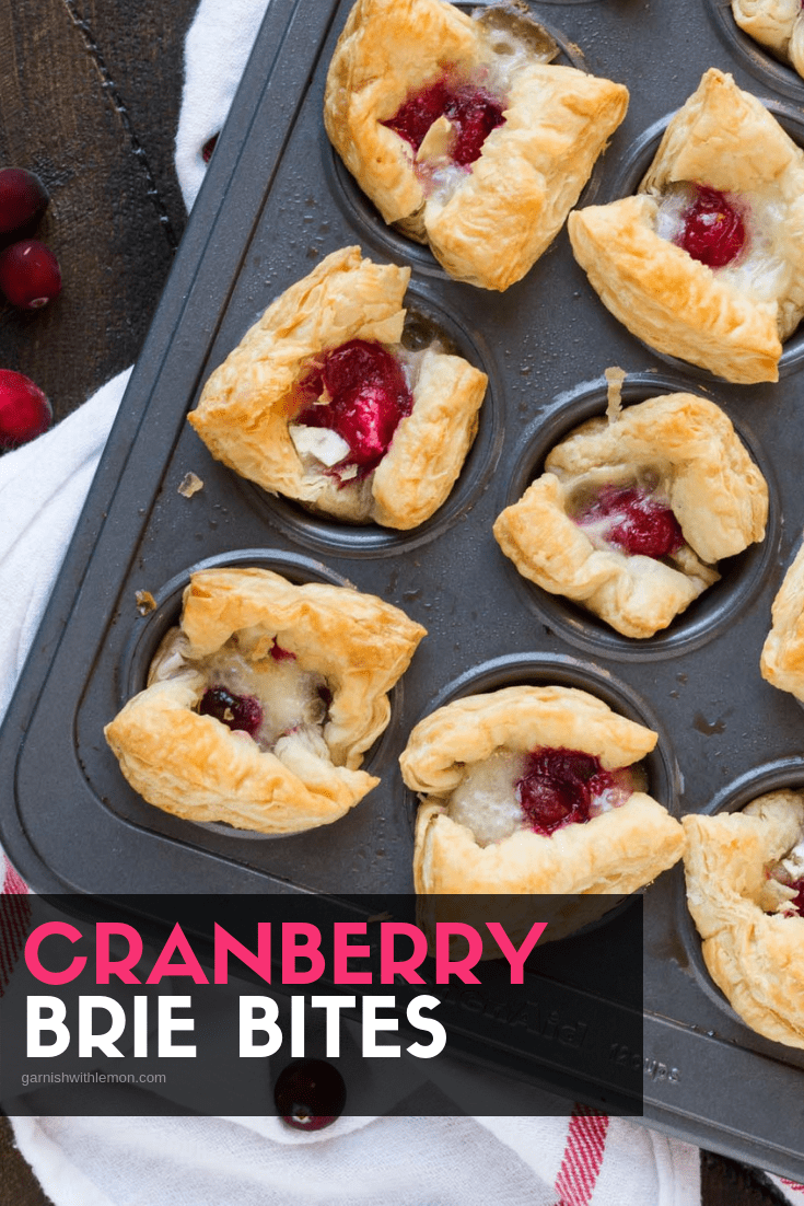 Top down image of Cranberry Brie Bites in a muffin tin.