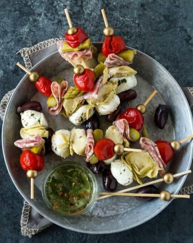 skewers of vegetables on plate