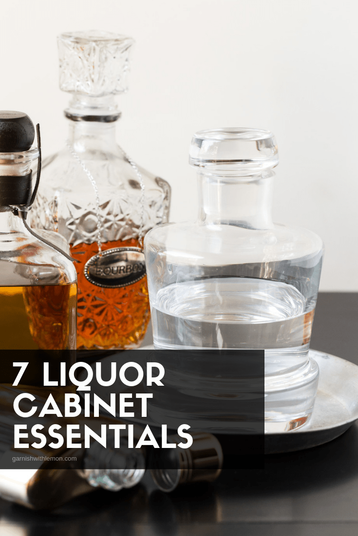 Image of decanters filled with 7 essential liquors for entertaining