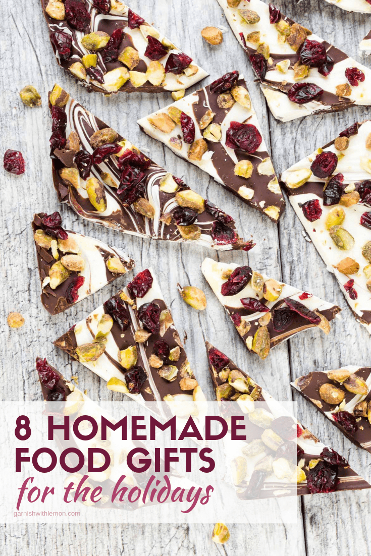 Pinterest image of 8 Homemade food gifts.