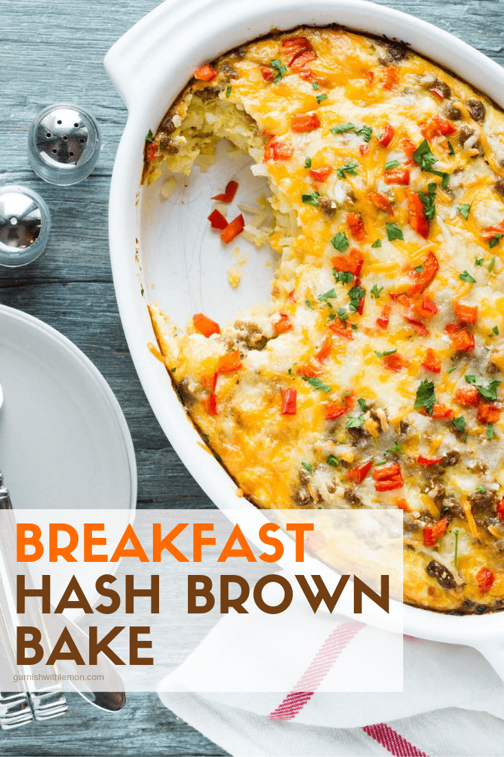 Top down image of Breakfast Hash Brown Bake in a white baking dish.