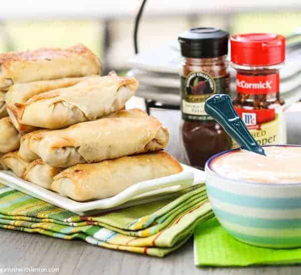 Baked Mexican Egg Rolls with Sour Cream Chamoy Sauce