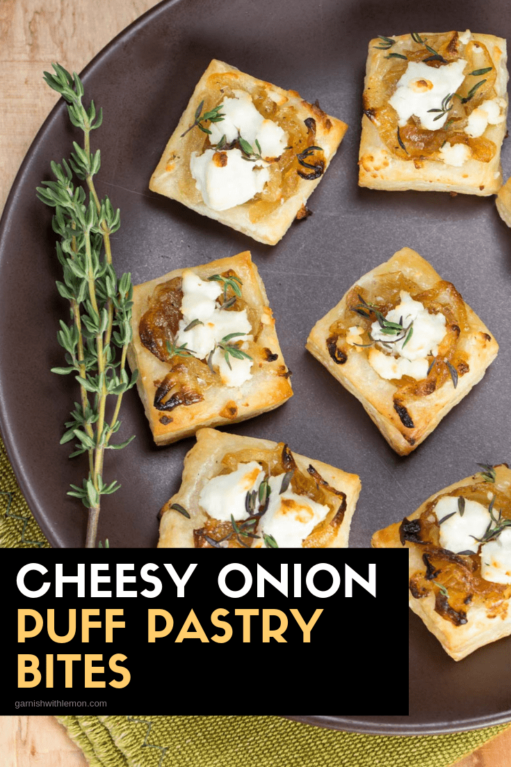 TOp down image of Cheesy Onion Puff Pastry Bites on brown plate.