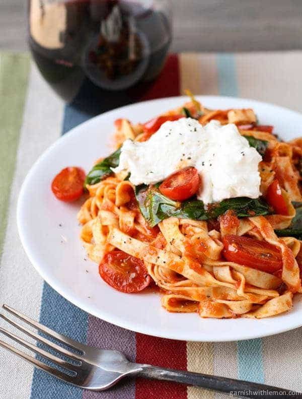 Fettuccine with Seared Tomatoes, Spinach and Burrata
