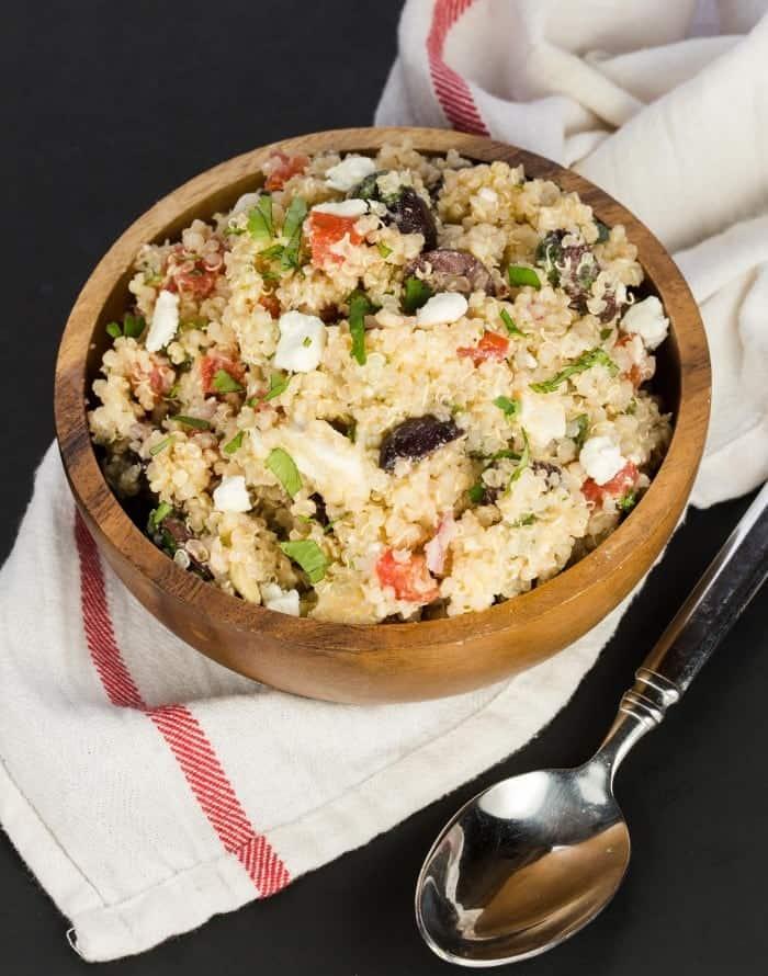 Mediterranean Quinoa Salad Garnish With Lemon