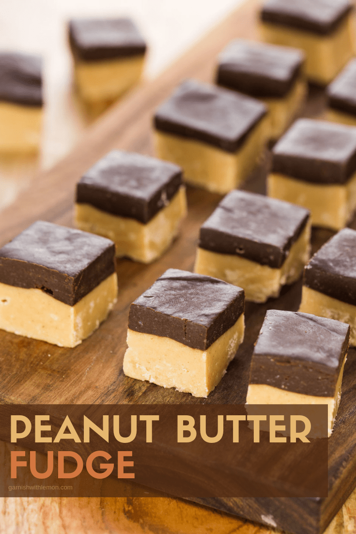 Pinterest image of Peanut butter Fudge with Chocolate Ganache