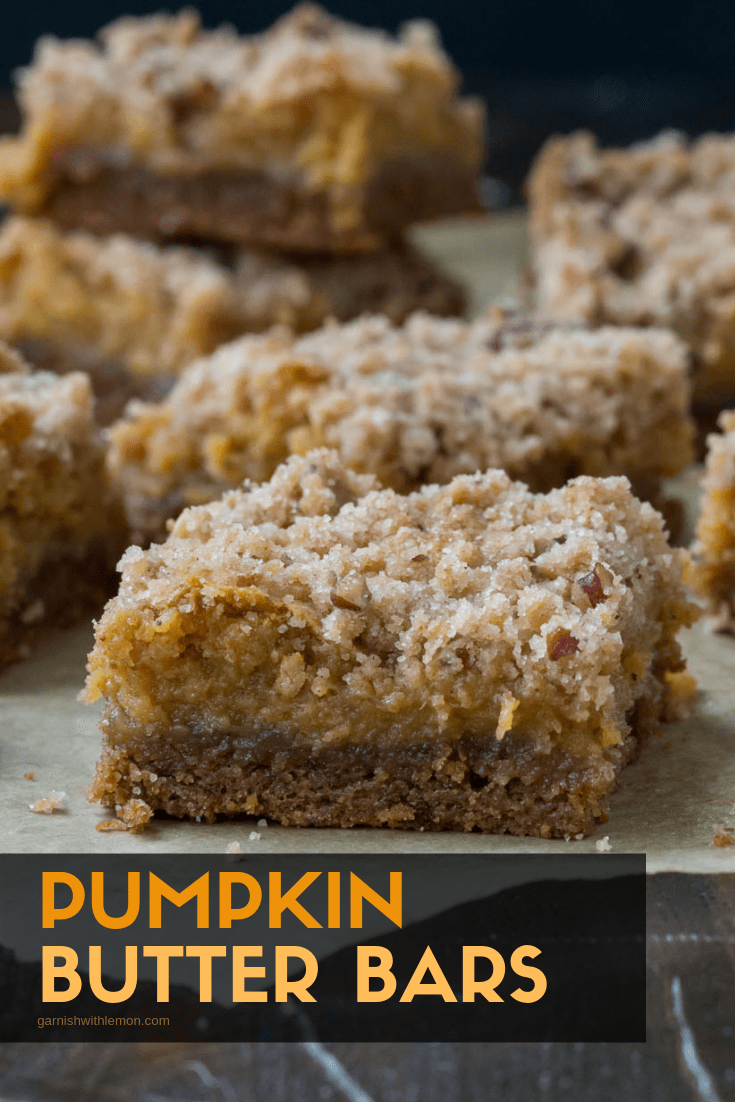 Side image of layered Pumpkin Butter bars recipe.