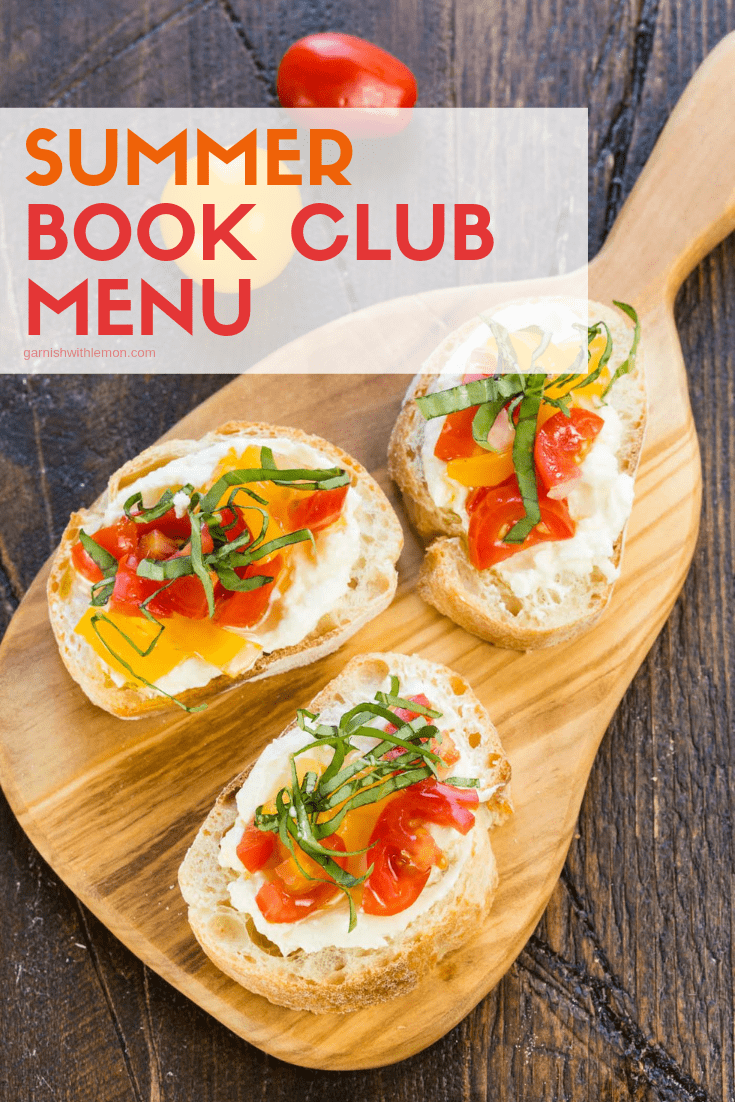 TOp down image of bruschetta for easy summer book club menu.